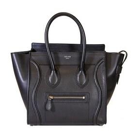 Celine Micro Luggage Handbag Black- Smooth