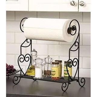 Metal Scross Design Paper Towel Holder w/ Shelf