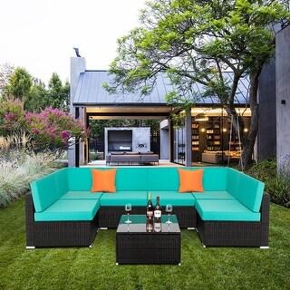 7 Piece Furniture Set Outdoor Conversation Rattan Sofa Sets