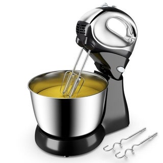 Costway 200W Stand Mixer Hand Mixer 5-Speed w/Dough Hooks & Beaters