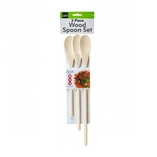 """3 piece Long Handle Wooden Mixing Spoon Set - 10"""", 12"""" and 14"""" Long - Brown"""