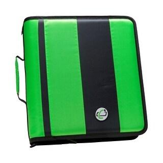 Case-it Classic O-Ring Zipper Binder, Green, 2 Inches