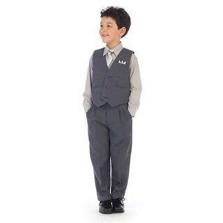 Angels Garment Little Boys Gray Shirt Pin Striped Vest 4 Pc Pants Set