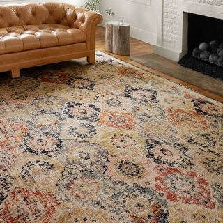 Alexander Home Luxe Antiqued-Motif Distressed Area Rug