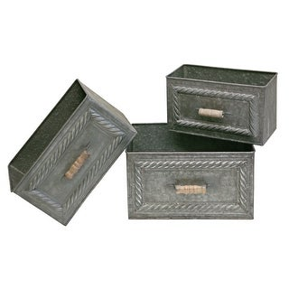 Embossed Galvanized Tin Nesting Drawers Shelf Storage Set of 3