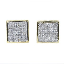 1/3cttw Diamond Earrings 10K Yellow Gold 8mm Wide Square Pave Set Screw Back