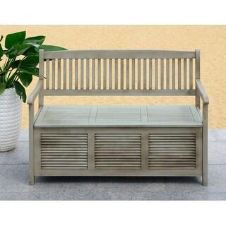 """Safavieh Outdoor Living Brisbane Grey Storage Bench - 50"""" x 24"""" x 35.2"""""""