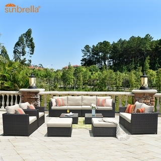 Ovios Patio Furniture 12-pc Outdoor PE Wicker/Sunbrella Sectional Set with 4 Pillows and 2 Covers