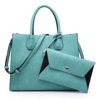 Dasein Women Satchel Handbag with Matching Wristlet and with Hanging Padlock Deco