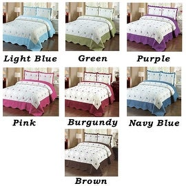 3pc Blue Green Purple Pink Red Brown Bedspread Queen Size Quilted High Quality Bed Cover Embroidery Quilt