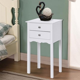 Gymax Side Table End Accent Table Night Stand W/ 2 Drawers Furniture