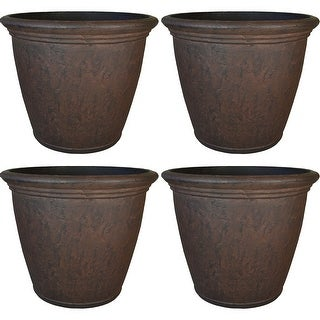 "Sunnydaze Anjelica Outdoor Double-Walled Flower Pot Planter - Rust - 16"" - 4-PK - Set of 4"