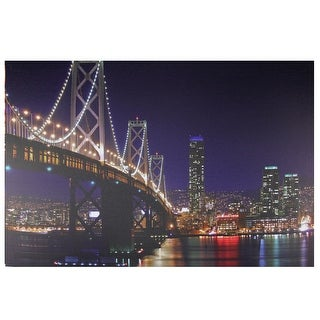 "LED Lighted San Francisco Oakland Bay Bridge Canvas Wall Art 15.75"" x 23.5"" - Multi"