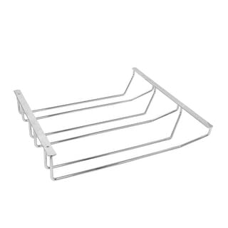 Household Kitchen Stainless Steel Wine Glass Holder Hang Rack Silver Tone