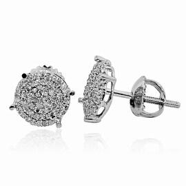 8mm Wide Round Stud Earrings 0.3cttw Diamonds 10K White Gold Screw Back
