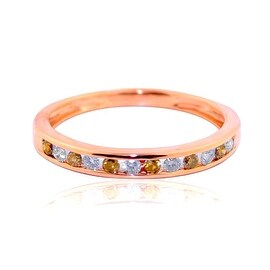 10K Rose Gold Wedding Band Cognac Diamond And White Diamonds 1/4cttw 3mm Wide Ring