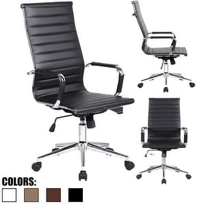 2xhome - Black Modern High Back Office Chair Ribbed PU Leather Tilt Adjustable Conference Room Home