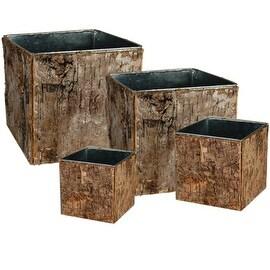 CYS® Zinc Pot with Natural Birch Wood Wrap Zinc Cube Vases (Set of 4 pcs)