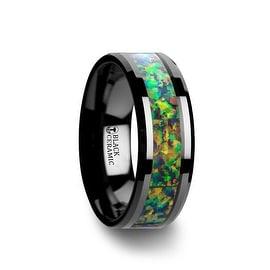 GALACTIC Black Ceramic Wedding Band with Beveled Edges and Blue & Orange Opal Inlay