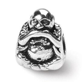 Sterling Silver Reflections Speak No Evil Buddha Bead (4mm Diameter Hole)