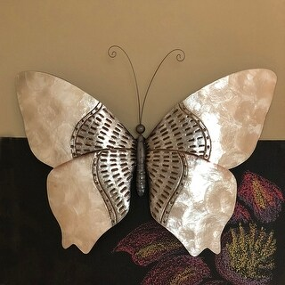 Butterfly Wall Decor Silver With Rust Dashes - 1 x 18 x 13