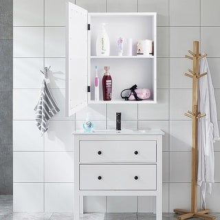 Gymax Bathroom Mirror Cabinet Wall Mounted Kitchen Medicine Storage