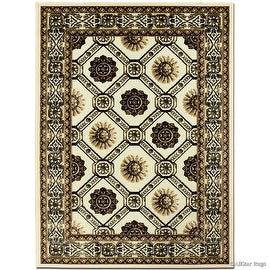 """Allstar Brown / Beige Luxury Exotic Chenille Base Woven Contemporary Modern Area Rug (5' 2"""" x 7')"""