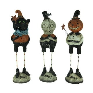 Set of 3 Pumpkin Peeps Vintage Look Halloween Figurines - 9 X 2.5 X 2.25 inches