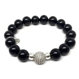 Black Onyx 'Radiance' stretch bracelet 14k Over Sterling Silver