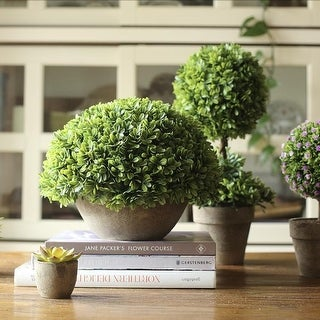 RusticReach Potted Boxwood Faux Topiary