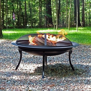 "Sunnydaze 29"" Fire Pit Steel Folding Fire Bowl with Storage Bag and Spark Screen"