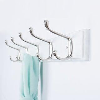 Dual Wall Hook Rack Bamboo Base 3/4/5 Hooks Coat Towel Holder Wood White