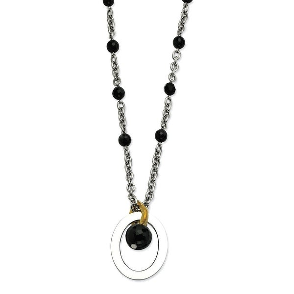 Chisel Stainless Steel Black Onyx Beads & Gold Plated accent 18 with 2 Inch Necklace (7 mm) - 18 in
