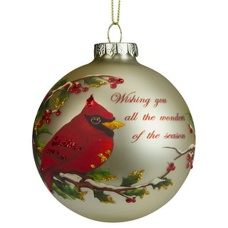 "Gold and Red Cardinal Perched on a Holly Berry Branch Glass Ball Christmas Ornament 4"" (100mm)"