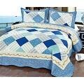 Queen Size 3PCS Quilt Set Beige Blue White Multi-Color Geometric Modern Floral Design Quilt Bedspread Bed Coverlet