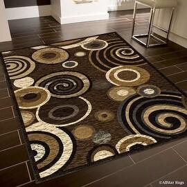 "Allstar Brown High End Drop Stitch Woven Contemporary Circles Area Rug (5' 2"" x 7' 2"")"