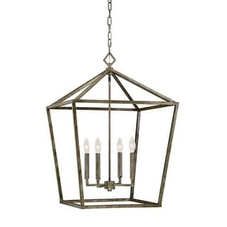 """Millennium Lighting 3254 4 Light 20"""" Wide Foyer Pendant with Cage Open Frame and Candle Style Lights"""