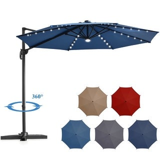 Costway 10ft Solar Cantilever Umbrella, Base and Storage Cover Included