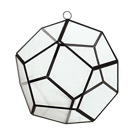 "CYS® Hanging Metal Glass Vase Geometric Pentahedron Terrarium / Candle Holder - 8"" (Chain Included)"