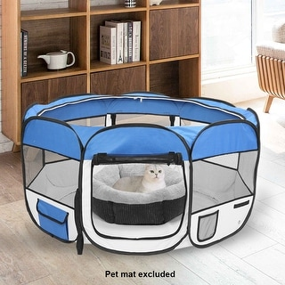 """45"""" Portable Foldable 600D Oxford Cloth & Mesh Pet Playpen Fence with Eight Panels"""