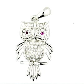 Owl Pendant Sterling Silver 28mm Tall Charm