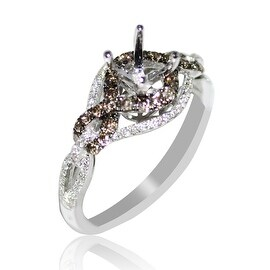 Bridal Ring Setting Cognac White Diamond 0.61cttw 14K Whtie Gold Fits 0.5ct Solitaire