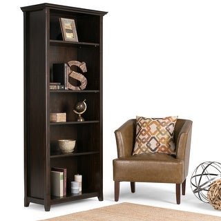 "WYNDENHALL Halifax SOLID WOOD 70 inch x 30 inch Transitional 5 Shelf Bookcase - 30""w x 14""d x 70"" h"