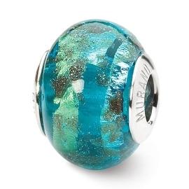 Italian Sterling Silver Reflections Aqua/Gold Murano Bead (4mm Diameter Hole)