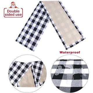 OurWarm 14 x 72 inch Plaid Table Runner Black and White Christmas Table Runner Double Sided, Buffalo Check Table Runner