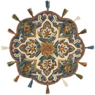 Alexander Home Hand-Hooked Sophie 100% Wool Sea Medallion Tassel Round Rug - 3' x 3' Round