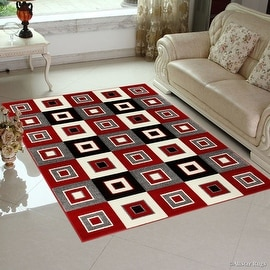 "Red AllStar Rugs with Grey Modern Geometric Square Design Area Rug (3' 9"" x 5' 1"")"