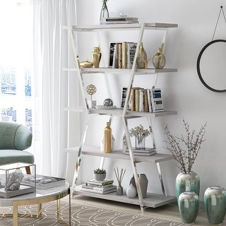 Silver Orchid Epstewin Metal Frame 4-shelf Bookcase/Room Divider