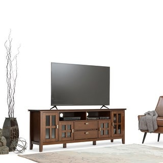 WYNDENHALL Stratford SOLID WOOD 72 inch Wide Contemporary TV Media Stand For TVs up to 80 inches