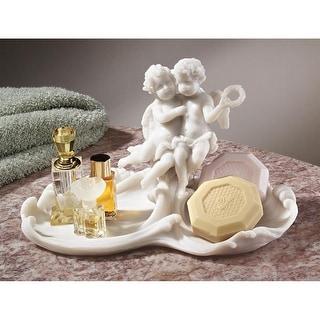 Design Toscano Versailles Angels Font Decorative Bonded Marble Resin Dish